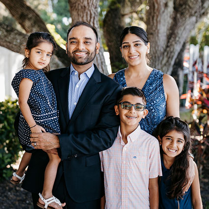 Dr. Malik and His Family in Sarasota, FL