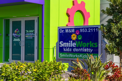 Office Sign on the Building at the Pediatric Dentist in Sarasota